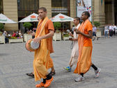 Krishnaites go down the street Prague, the Czech Republic — Stock Photo