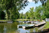 Boat station on Lake Beloye of Gatchina  — Stock Photo