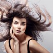 Fashion woman with flying hair — Foto Stock