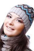 Lachende vrouw in hoed — Stockfoto