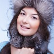 Постер, плакат: Happiest woman in a fur cap