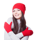 Woman in red cap embrace yourself — Stock Photo