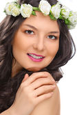 Beauty smile woman with flower isolated — Stock Photo