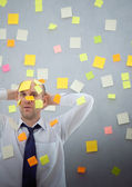 Empresário com muitas notas — Foto Stock