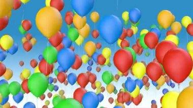 Color balloons fly away — Stock Video