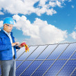 Engineer installing solar panels — Stock Photo #29634517