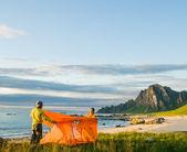 キャンプのカップル — ストック写真
