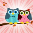 Stock Vector: Owls in love