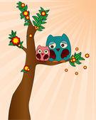 Cute owl family — Stock Vector
