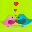 Couple birds in love — Stock Vector