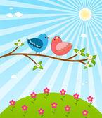 Couple birds in love — Stock Vector