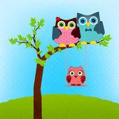 Owl family vector — Stock Vector