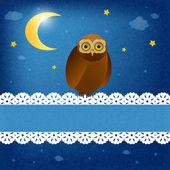 Eule in der nacht — Stockvektor