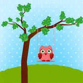 Cute owl on swing — Stock Vector
