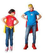 Family acting as super hero — Stock Photo
