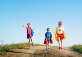 Children  acting like a super hero — Stock Photo