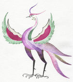 Fantastic bird is drawn with a water color — Stock Photo