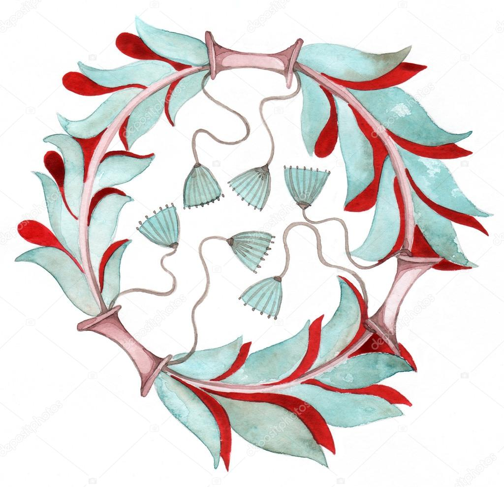 Wreath of flowers and leaves. Retro style. — Stock Photo #12146865