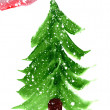 Painted Christmas tree — Stock Photo