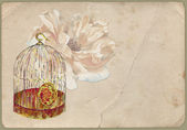 Vintage shabby background with flower — Стоковое фото