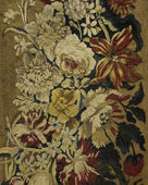 Closeup of retro tapestry fabric pattern with classical image of the colorful floral ornament — Stock Photo