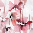Cute floral background. Watercolor poppies — Stock Photo #21688969