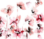 Cute floral background. Watercolor poppies — Stock Photo