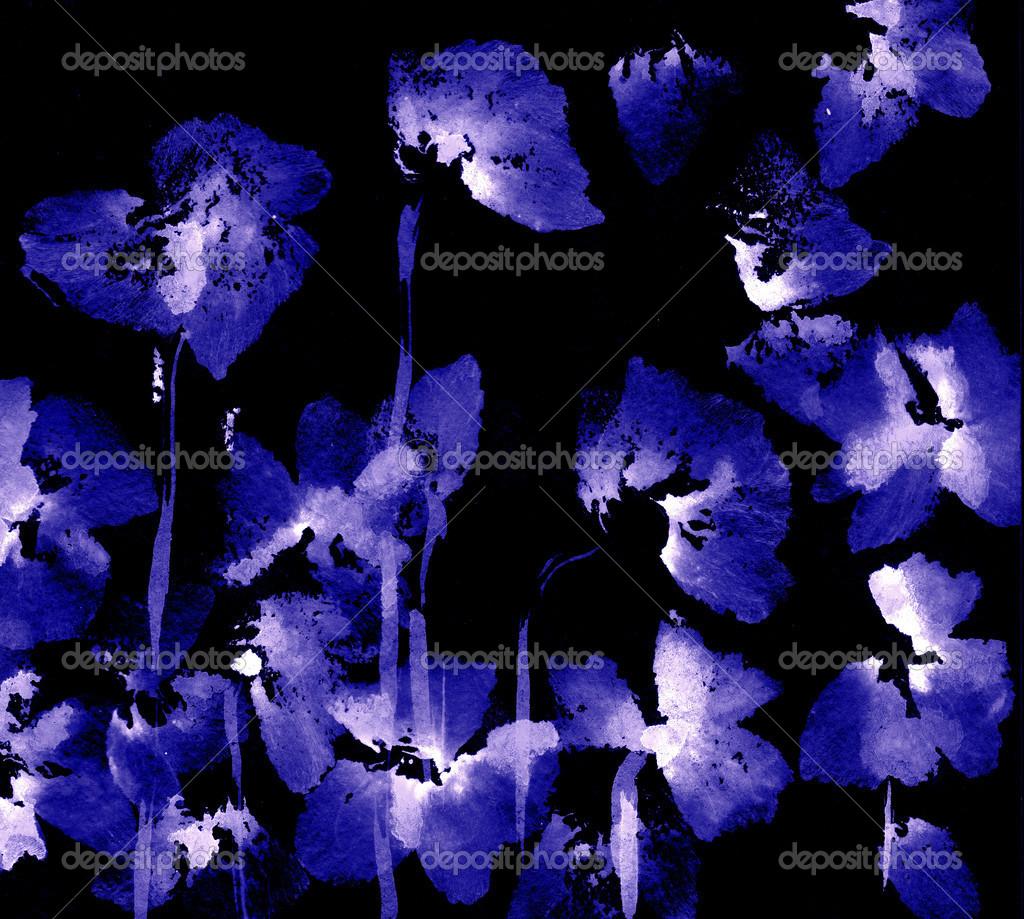 可爱的花卉背景.水彩罂粟