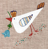 Chicken painted on linen background — Stock Photo
