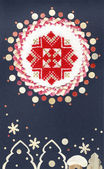 Holiday card with elements of folk embroidery — Stock Photo