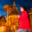 Stock Photo: Asiwompay respect to golden pagoda