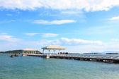 мост деревянный ходьбы к морю — Стоковое фото
