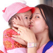 Asian woman kissing her daughter — Stock Photo #26482505
