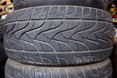Pile of black used tire — Stock Photo
