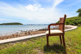 Wooden chair and sea — Stock Photo