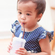 Thai baby girl drinking water — Stock Photo