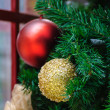 Stock Photo: Gold and red christmas balls