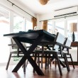 Black table and chairs in living room — Stock Photo