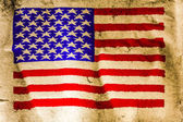 USA flag painted on old brown paper — Stock Photo