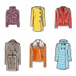 Women coats icon set — Stock Vector
