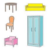 Conjunto de iconos de muebles — Vector de stock