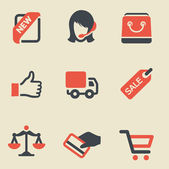 Shopping black and red icon set — Stock Vector