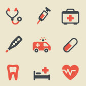 Medical black and red icon set — Stock Vector