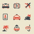 Travel black and red icon set — Stock Vector