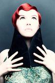 赤い髪の少女のヴィンテージの肖像画. — ストック写真