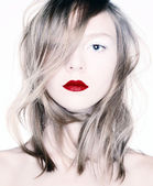 Beauty with red lips. — Stock Photo