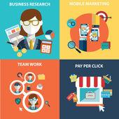 Colección de vectores de negocios, marketing y finanzas conceptos planas y coloridas. elementos de diseño para aplicaciones web y móviles. — Vector de stock