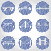 Bridges icons set — Stock Vector