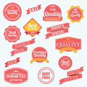 Set of vector stickers and ribbons — Stock Vector