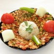 Stock Photo: Chicken Kebab and Rice Pilaf
